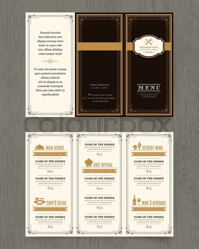 Vintage Restaurant Menu Design Pamphlet Vector Template In A Size