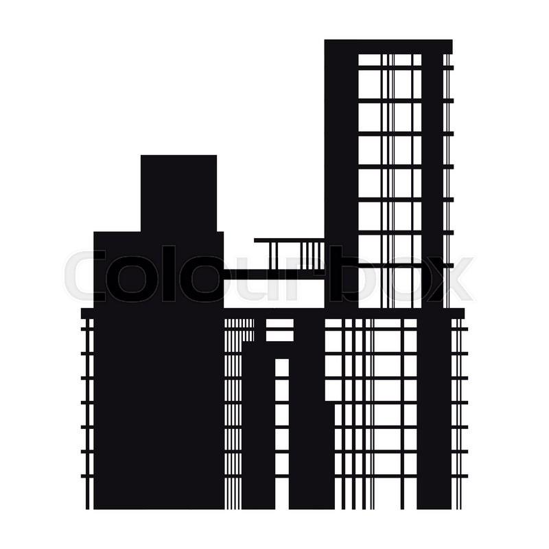 Building Construction Icon : Flat design building under construction icon vector