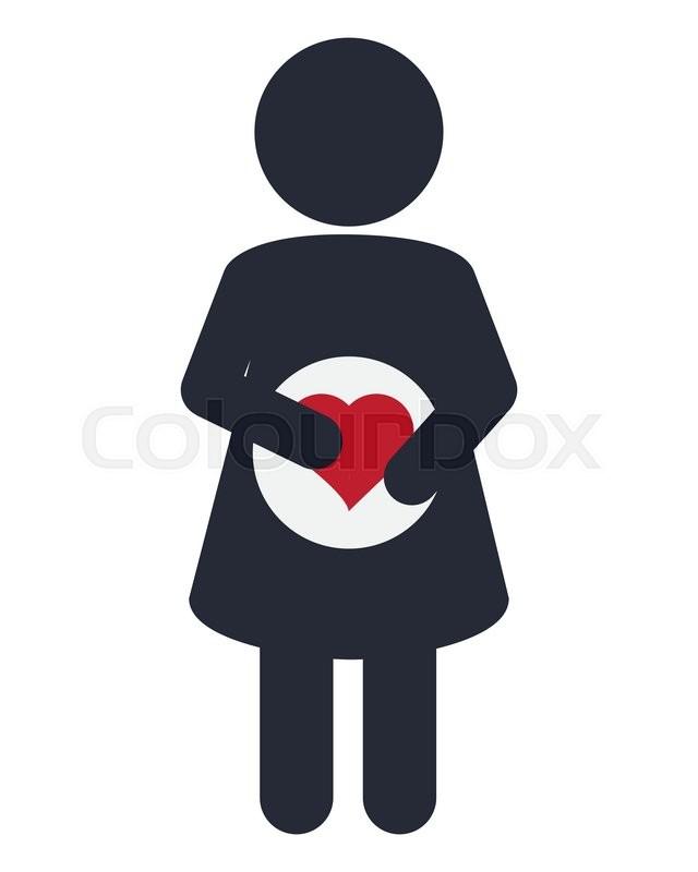 Flat Design Pregnant Woman Icon Vector Illustration Stock Vector