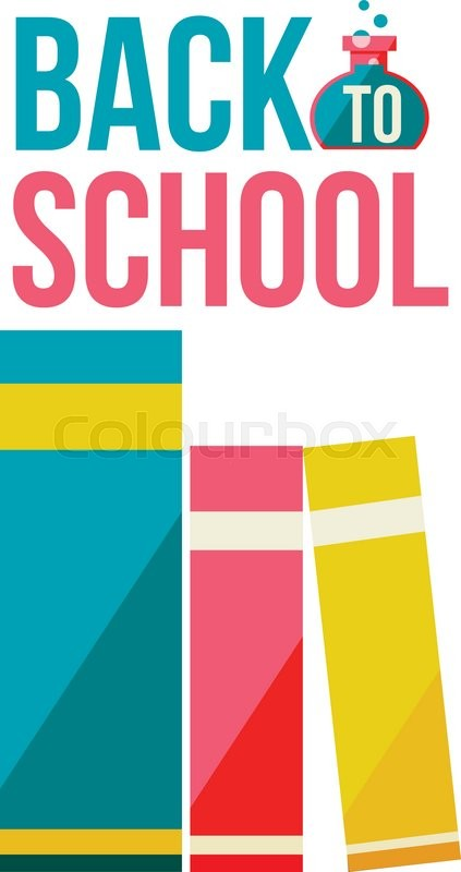 Back To School Poster With Row Of Books Flat Style Vector