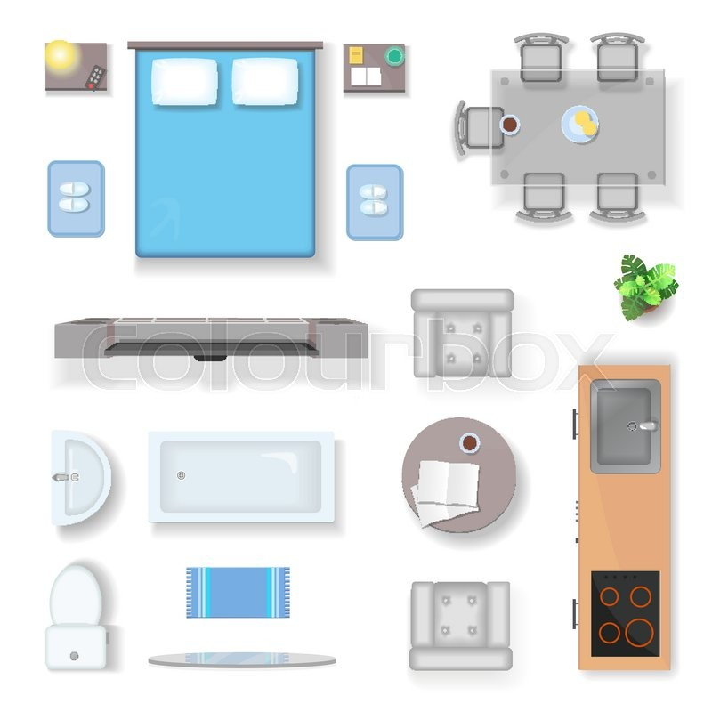 Apartment Top View Living Room Stock Vector Colourbox