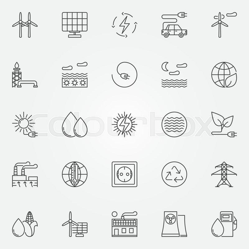 alternative energy icons  vector set of renewable energy