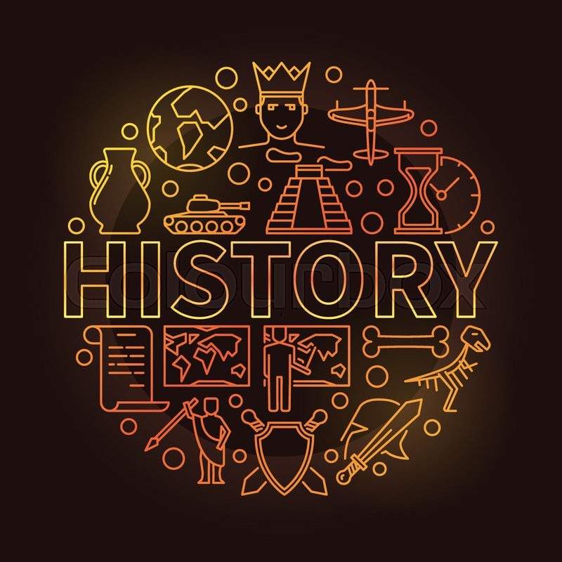 History Colorful Linear Illustration. ...