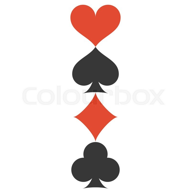 Vertical Vector Four Playing Cards Suits Symbols Spades Hearts
