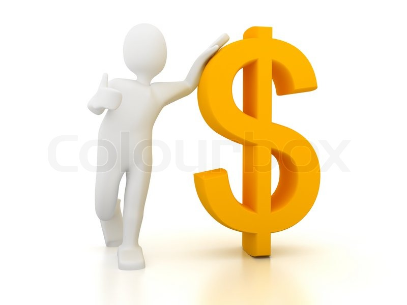 3d Person With Dollar Sign Over White Background Stock