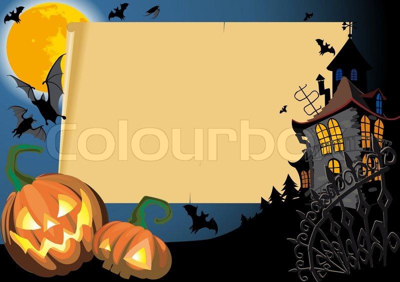 Pumpkin Halloween Card with empty blank scroll   Stock Vector ...