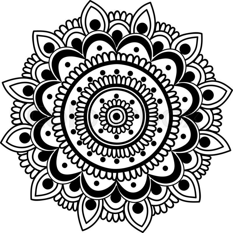 Hand Drawn Black And White Mandala In Stock Vector