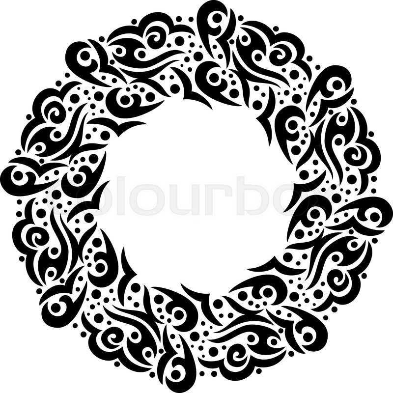 Black and white frame. Round border in a tribal style. Vector design ...