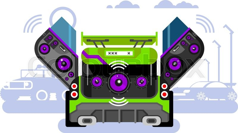 sound system clipart. stock vector of \u0027car audio system. music automobile, sound technology, stereo power system clipart