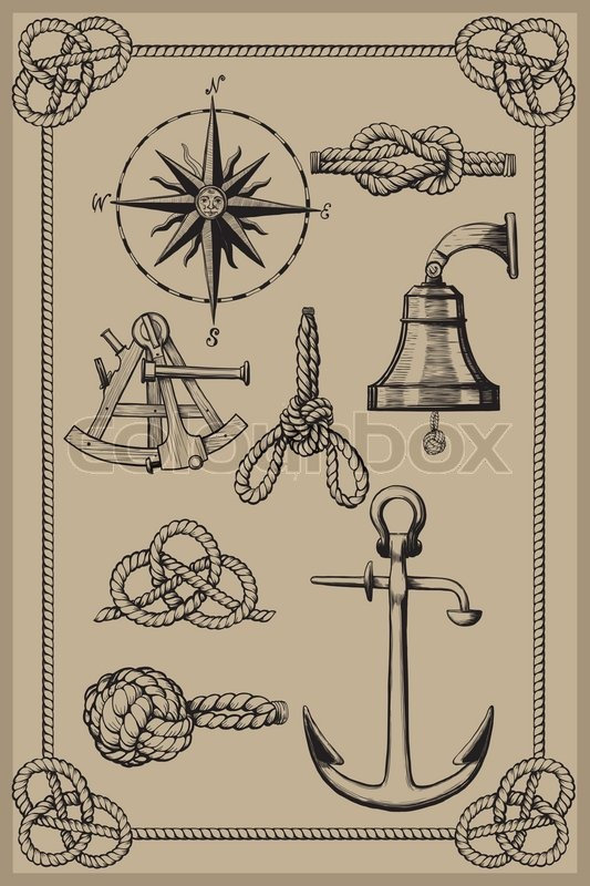 nautical elements on vintage background drawing woodcut method stock vector colourbox. Black Bedroom Furniture Sets. Home Design Ideas