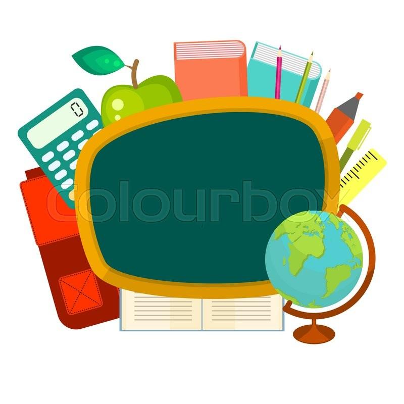 school supplies vector clip art objects blackboard banner template rh colourbox com school vector background school vector art