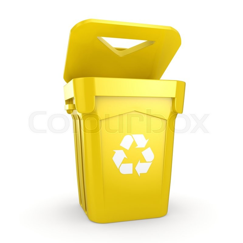 3D rendering Yellow Recycling Bin isolated on white