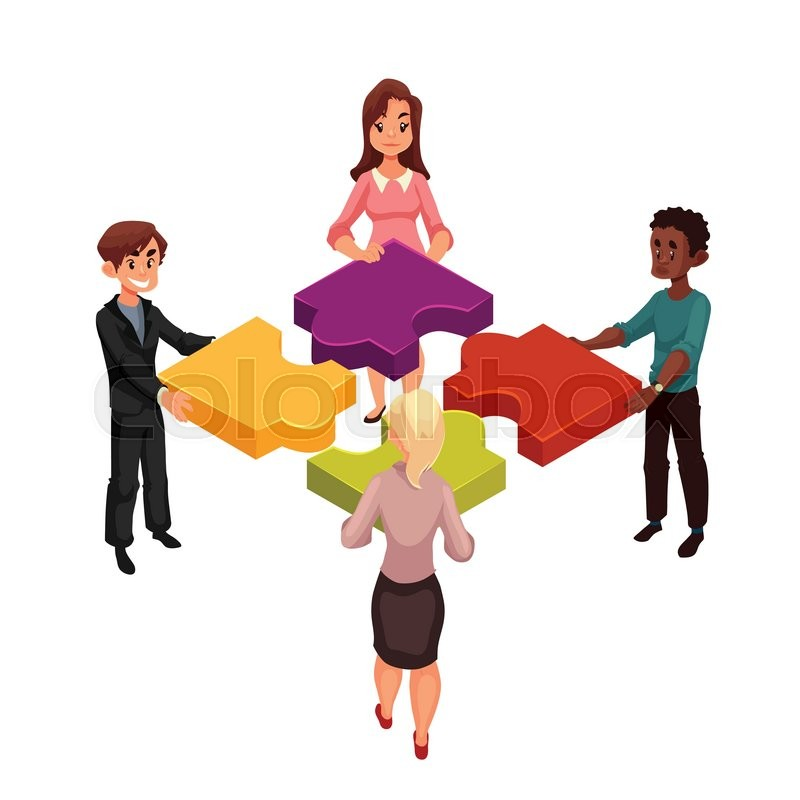Four People Of Diverse Ethnicity Connecting Jigsaw Puzzle Elements