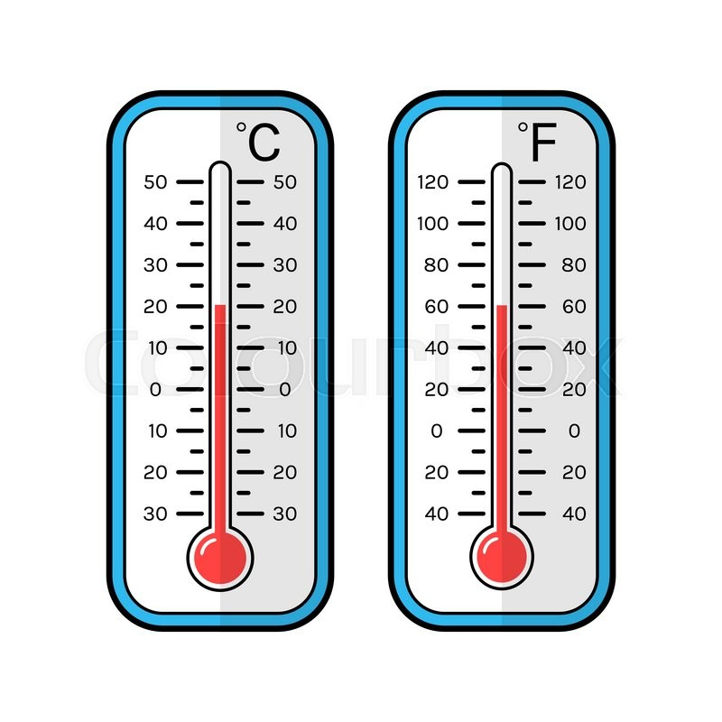 colored flat icons of thermometers for weather scale celsius and