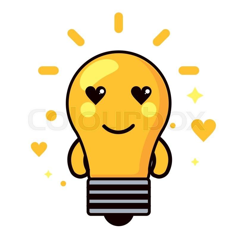 light bulb kawaii cartoon happy cute heart icon flat and colorfull