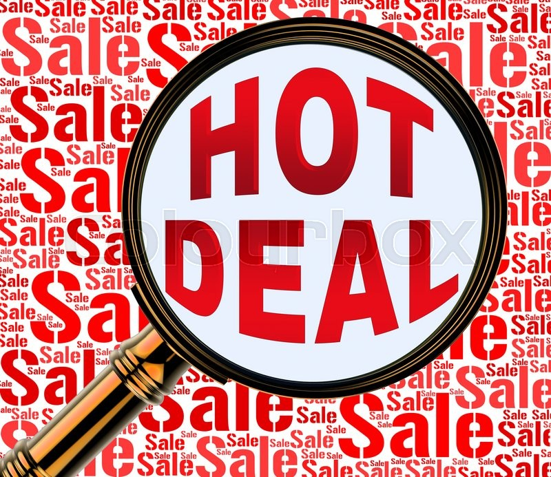 Stock image of 'Hot Deal Meaning Best Deals And Contract'