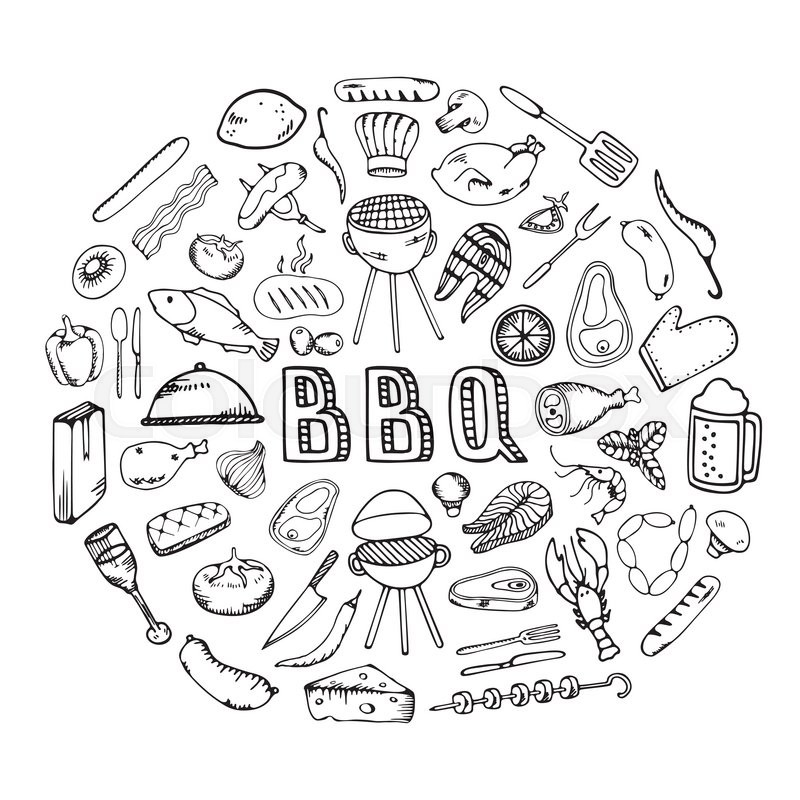 Barbecue grill party.Cook idea. Food design template. BBQ party ...