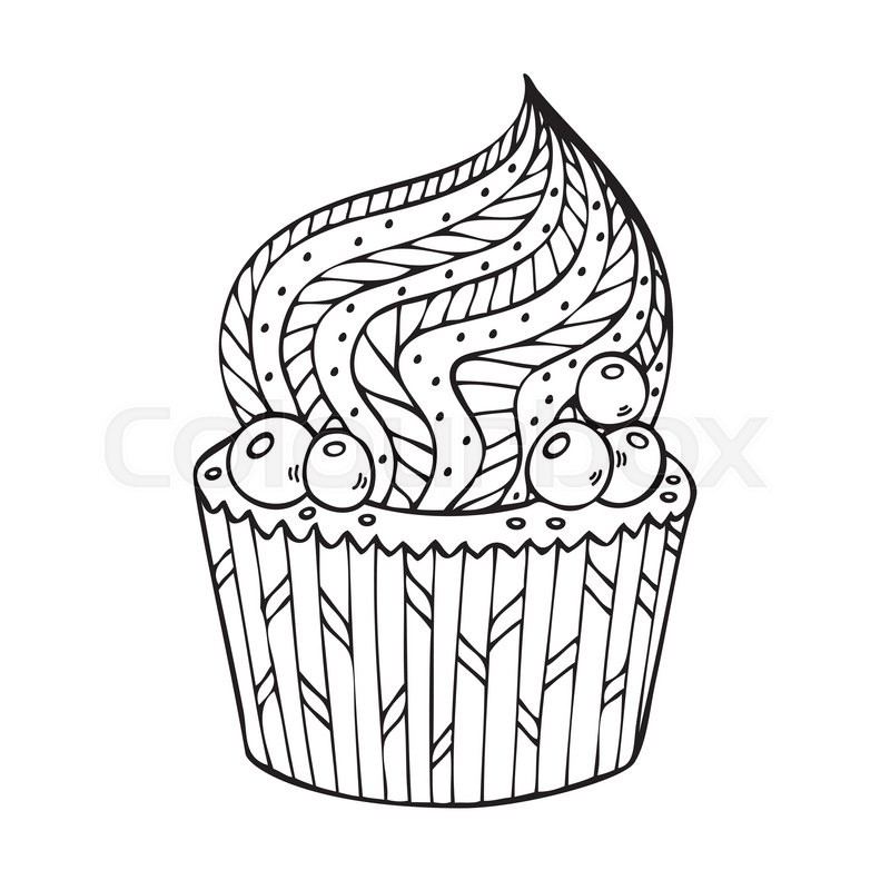 Cupcake coloring for adults. Coloring book page for adult. Vector ...