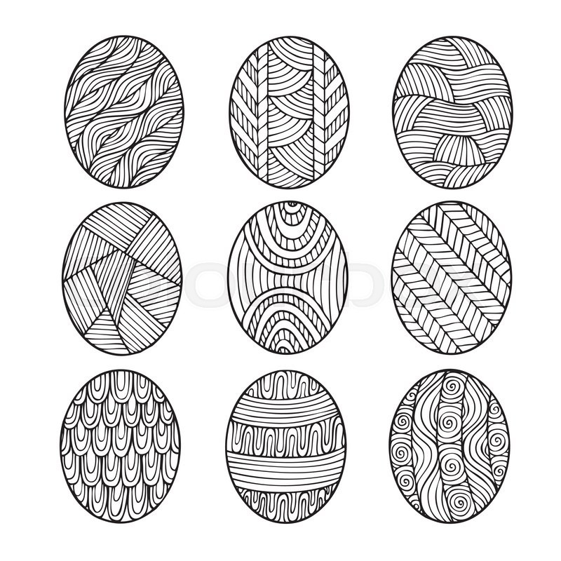Adult Coloring Book Page Design Depicting Easter Eggs For Vector Illustration In The Style Of Zentangle Doodle