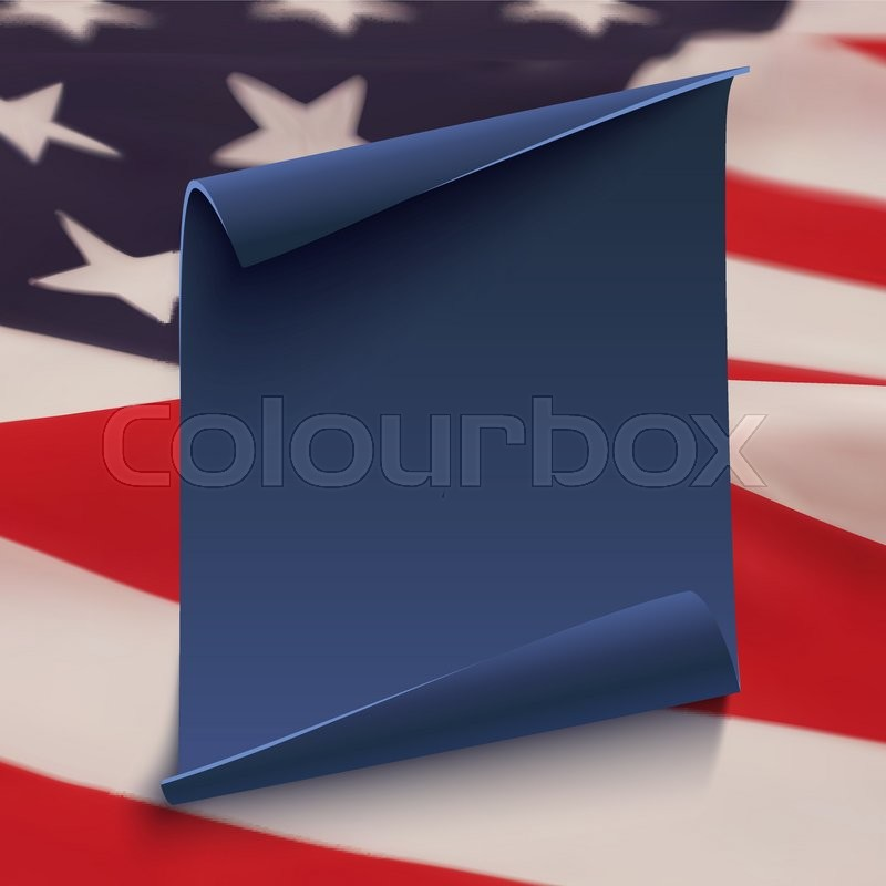 blank blue curved paper banner on top of american flag poster brochure or flyer template vector illustration vector