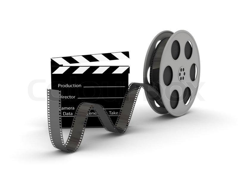 Film Slate With Movie Film Reel 3d Rendered Image Stock