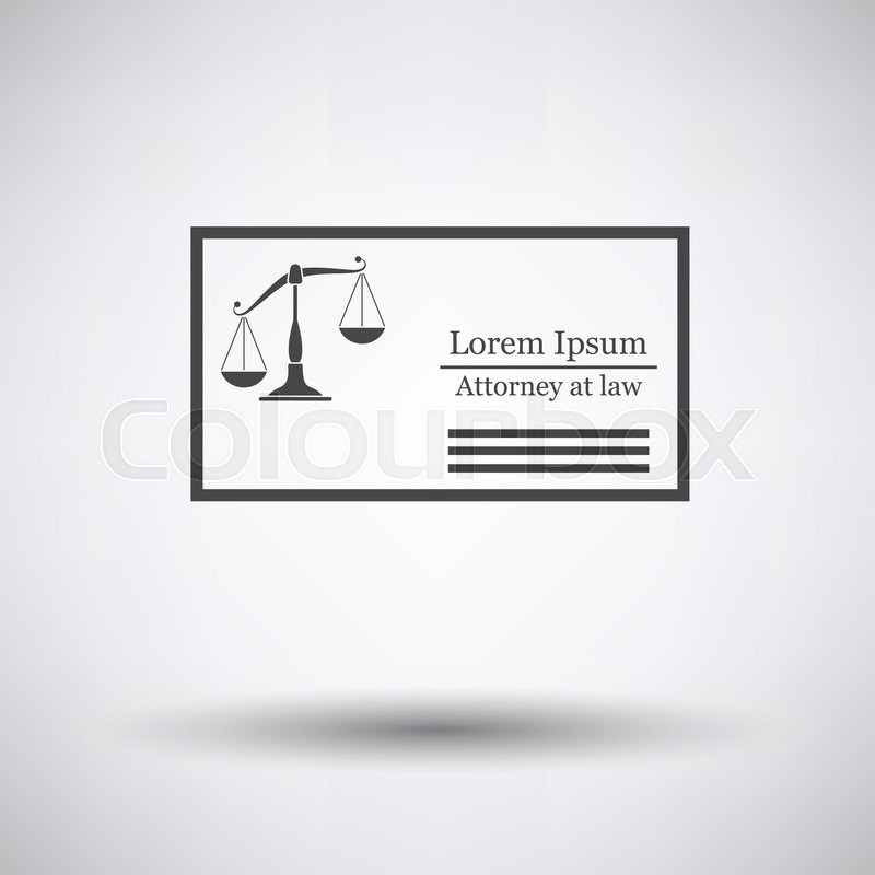 Lawyer Business Card Icon On Gray Background With Round Shadow