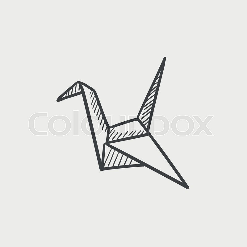 Origami Bird Sketch Icon For Web Mobile And Infographics Hand Drawn Vector Isolated