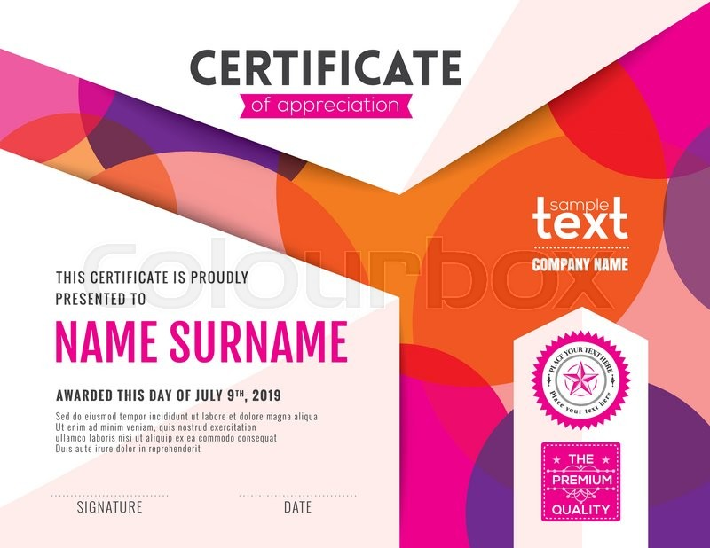 Modern certificate of appreciation template with colorful circles modern certificate of appreciation template with colorful circles background design stock vector colourbox yelopaper Image collections
