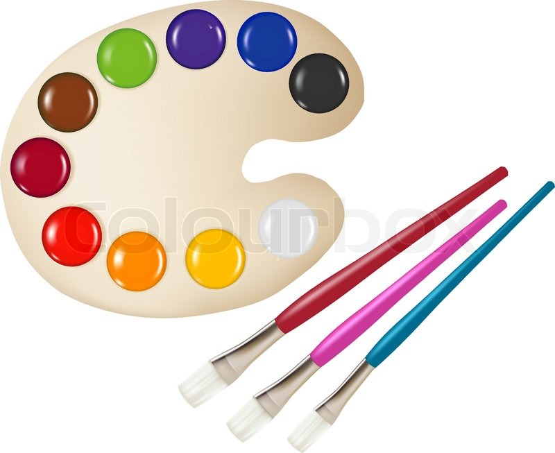 Paint Palette Drawing Palette With Color Paints And