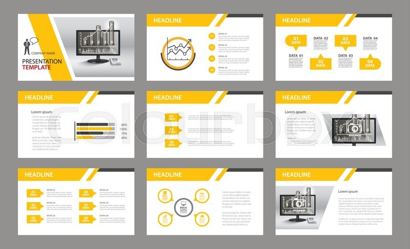set of presentation template use in annual report corporate flyer
