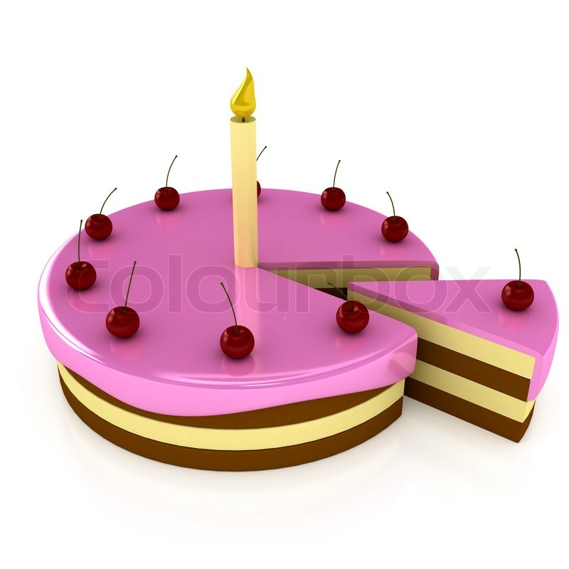 Birthday Cake With Candle Over White 3d Render Stock Photo