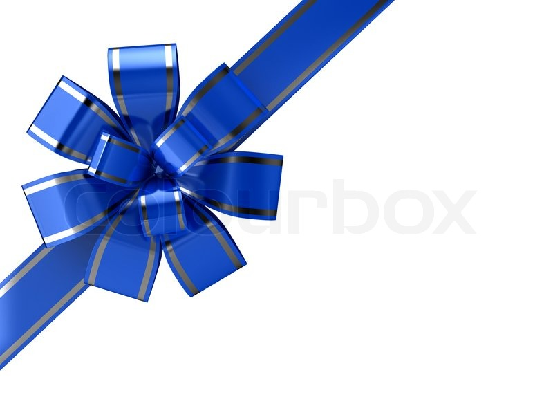 Blue ribbon over white background. 3d | Stock Photo | Colourbox