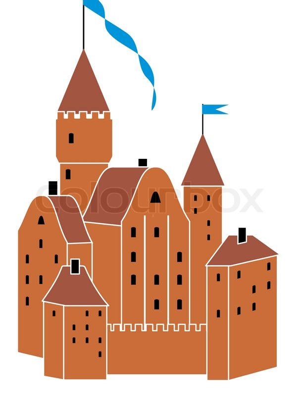Stock vector of cartoon illustration castle isolated on white - Vector Medieval Knight S Castle Isolated Illustration On