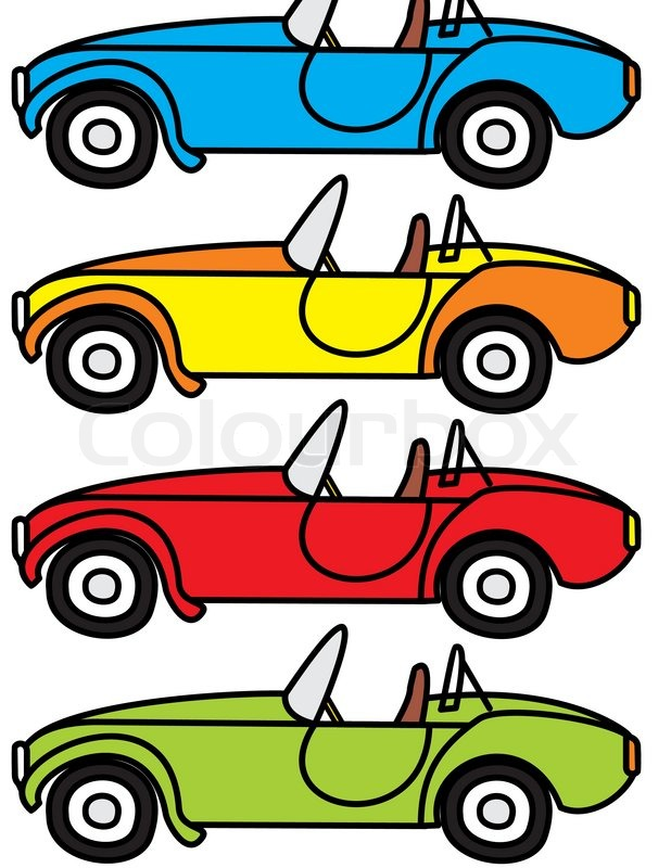 Vector Set Of Cartoon Retro Cars Isolated Illustrations On White