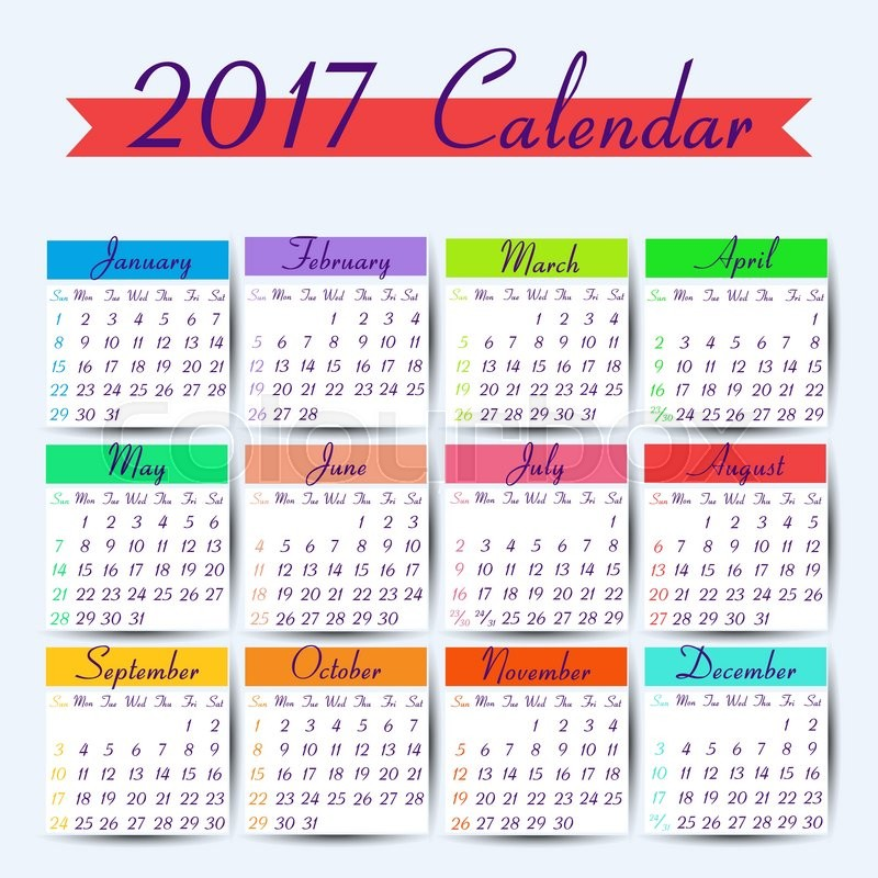 Calendar 2017. Vector calendar template ready to print | Stock Vector ...