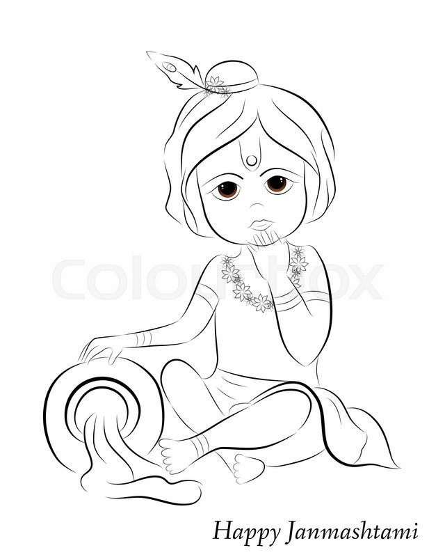 cute little cartoon lord krishna with pot of butter greeting card