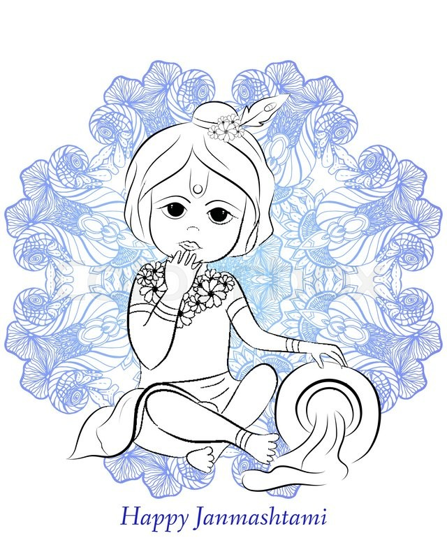 Cute Little cartoon Lord Krishna with     | Stock vector