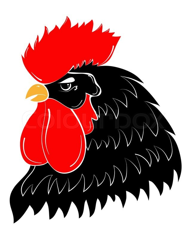 head. Chinese calendar. Year of rooster 2017. Cock Symbol of New Year ...