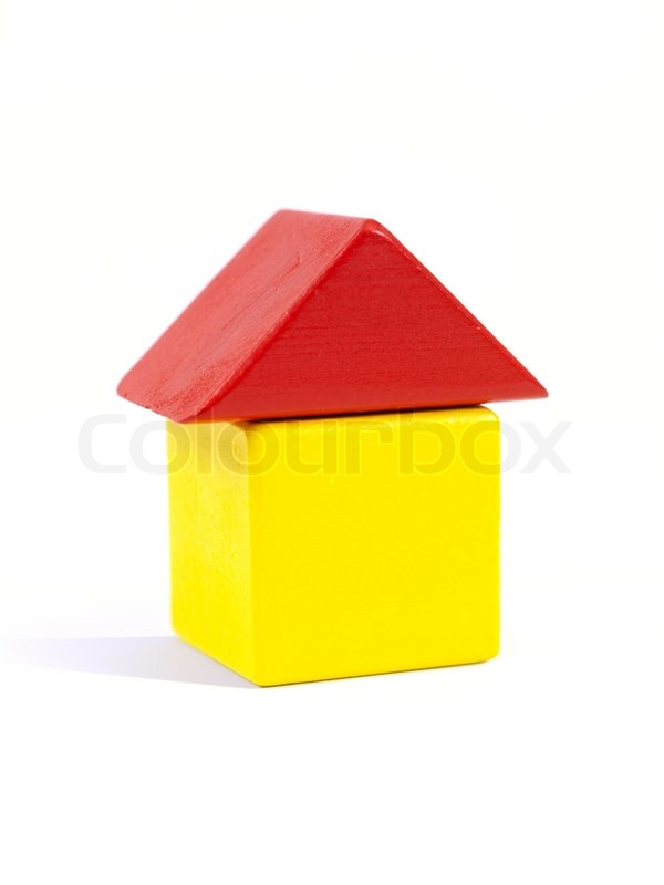 A toy house made from building blocks | Stock Photo ...