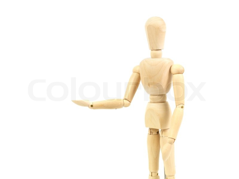 a wooden mannequin isolated against a white background stock photo