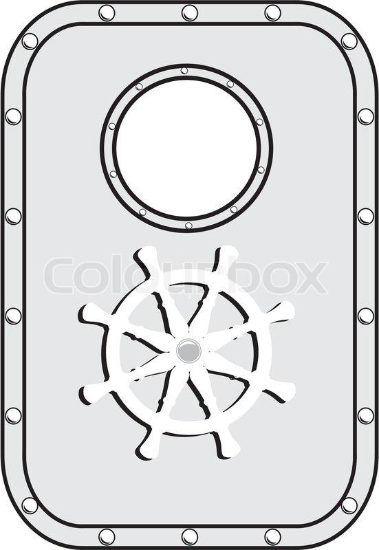Vector Iron Ship Door With Window And Stock Vector