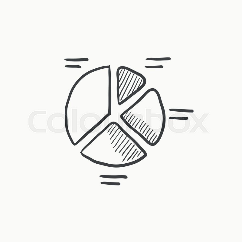 pie chart vector sketch icon isolated on background  hand