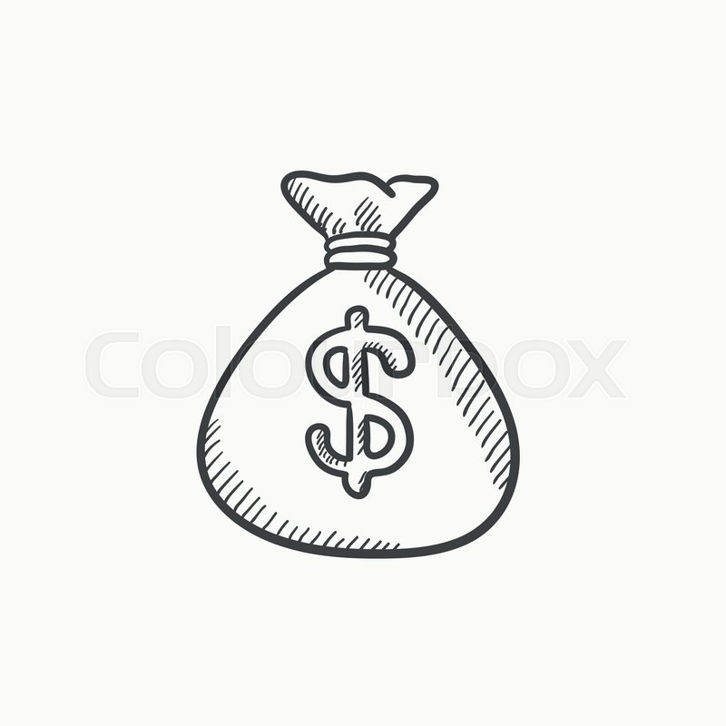 money bag vector sketch icon isolated on background hand drawn