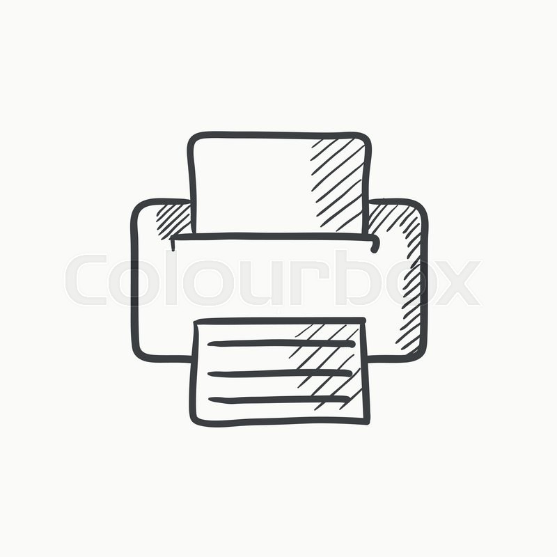 printer vector sketch icon isolated on