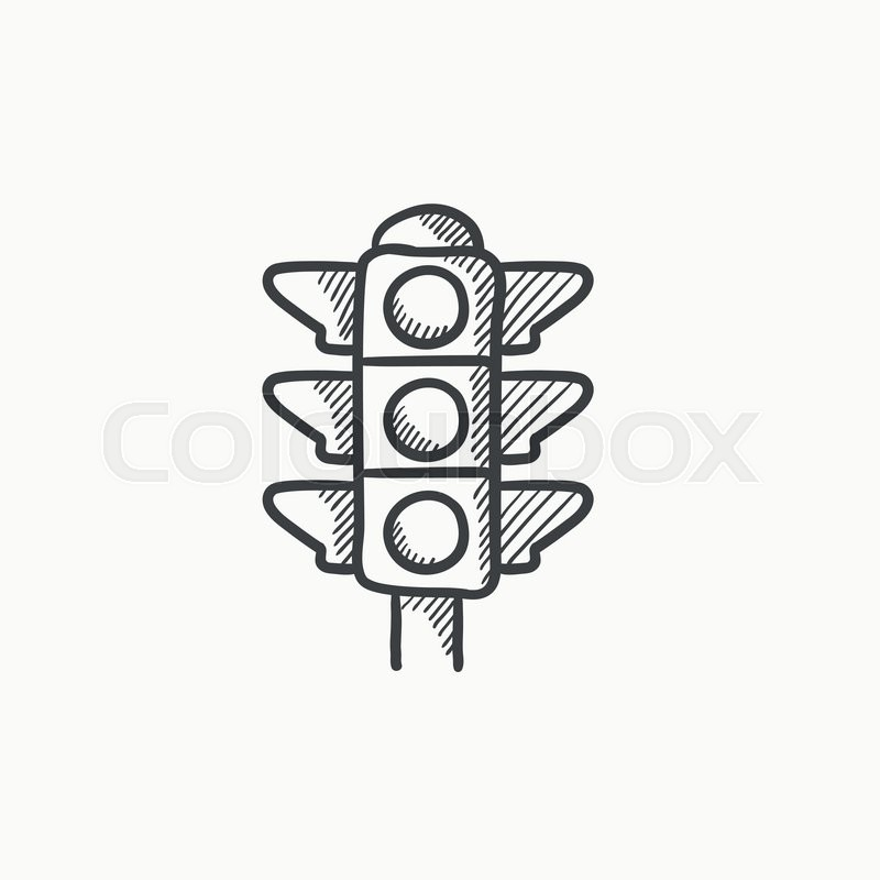 Traffic Light Vector Sketch Icon Isolated On Background