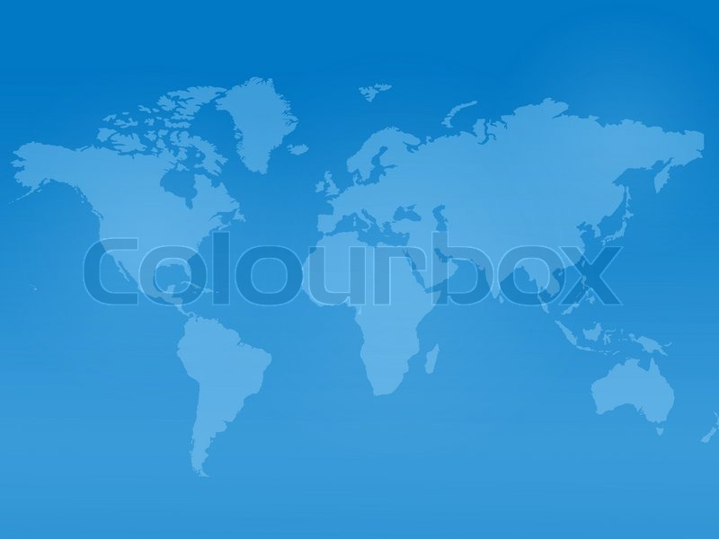 a world map isolated against a blue background stock photo colourbox