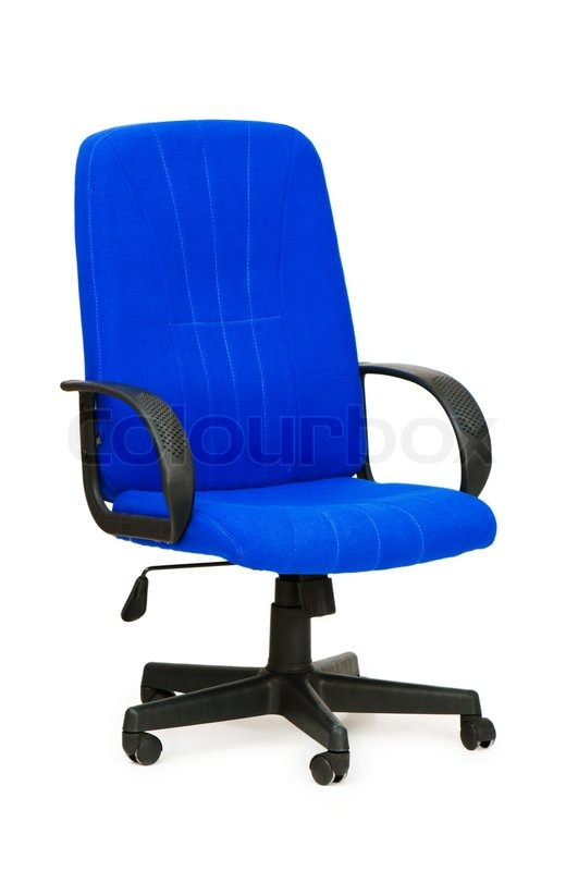 blue office chair isolated on the white | stock photo | colourbox