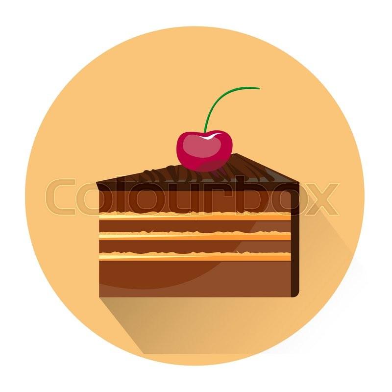Cartoon Dessert Cake Icon Isolated On White Background