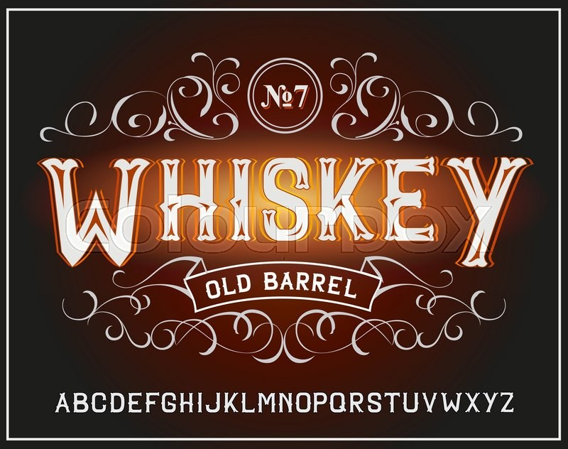 vector vintage label font whiskey label style stock vector