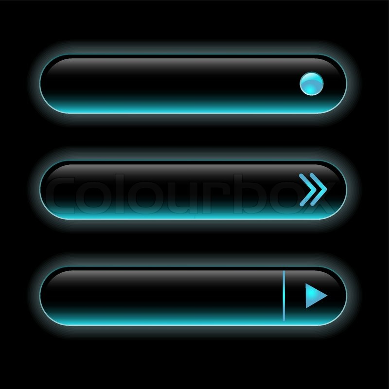 Website Black Buttons Bars Set Template Vector Elements
